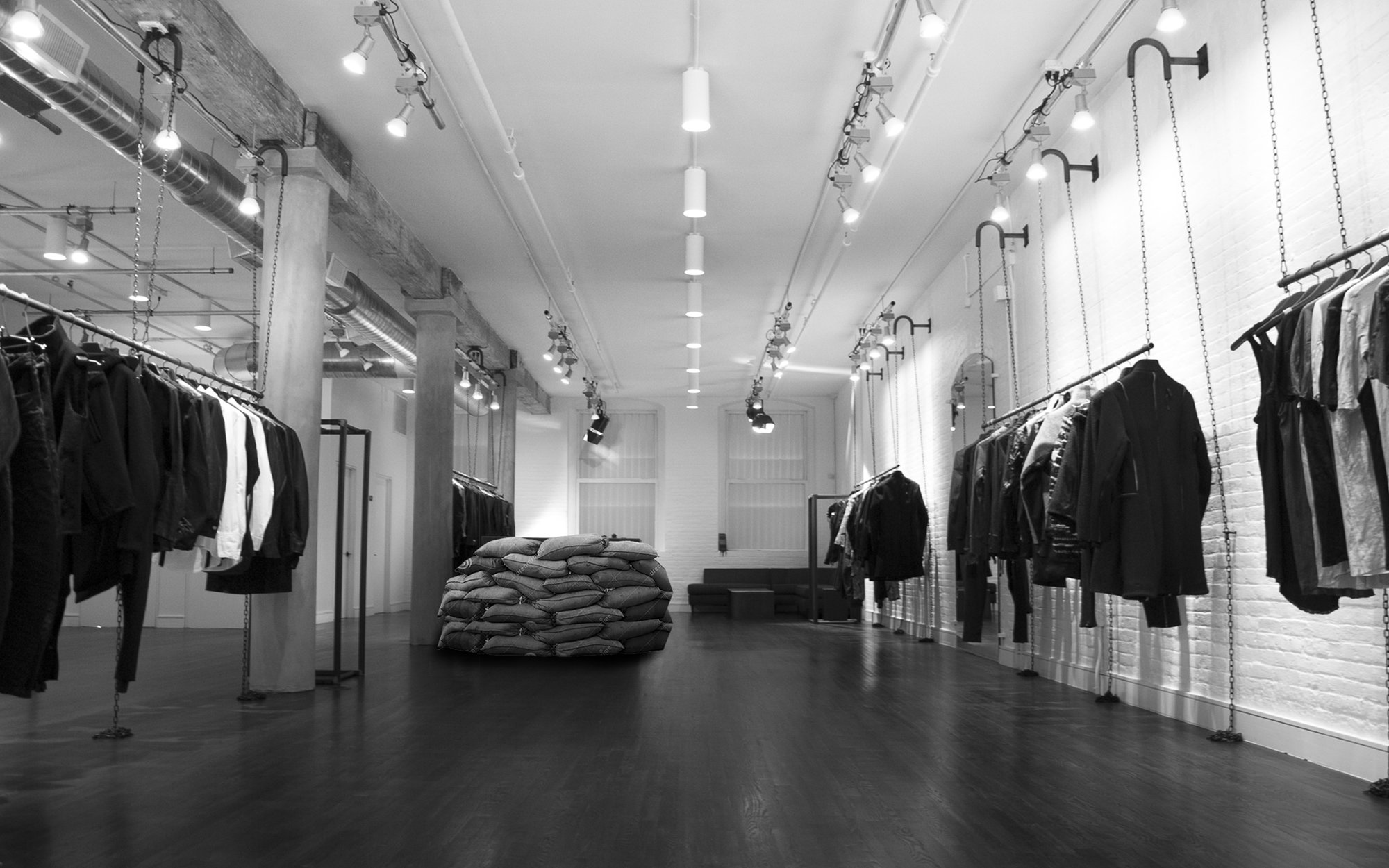 The concept: Turn the Store into a war-zone using sandbags.
